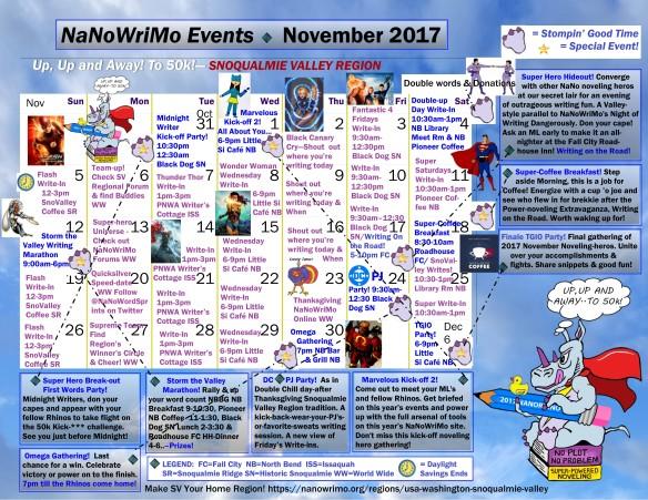 SnoV Region NaNo Event Calendar 2017